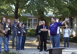 Director of Recruitment leading a campus tour for prospective master of divinity students