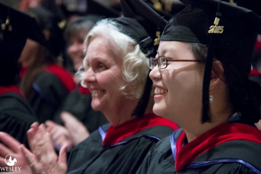 International student at Wesley's 2015 commencement.