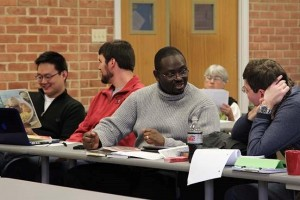 Image of students in conversation including Dr. Clementa Pinckney
